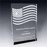 crystal american flag award