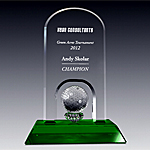 clear and green crystal golf trophies