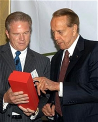 Bob Dole was presented with a crystal award