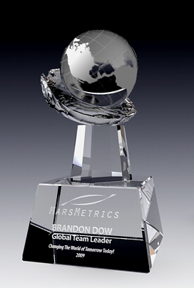 Globe on Crystal Hand Award