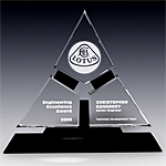 triangle crystal award plaque