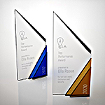 blue and yellow  frontier crystal award