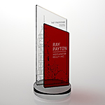 optima clear and red crystal award